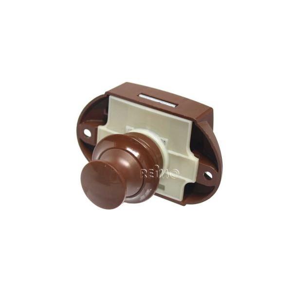 Push Lock - meubelslot bruin